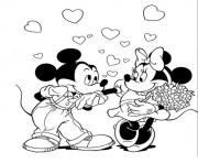 Printable mickey kissing minnies hand disney 42bd coloring pages