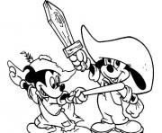 baby mickey and goofy with wooden swords disney s6a3a coloring pages