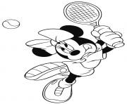 Printable minnie plays tennis disney ffb9 coloring pages