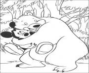 mickey hugged by a bear disney 1cd8 coloring pages