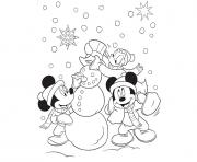 Printable mickey and friends making snowman disney 0ce7 coloring pages