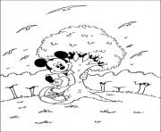 mickey hugs a tree disney 6246 coloring pages