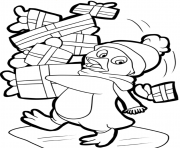 Printable penguin and presents free s for christmas1986 coloring pages