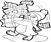 Print penguin with gifts 152df coloring pages