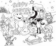 Print thomas the train s christmas holiday6022 coloring pages