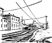 Train In A Railway 30d5 coloring pages