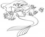 Print ariel and small friends disney princess s0c4e coloring pages