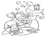ariel rides a dolphin disney princess sb522 coloring pages