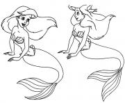 Print two ariels little mermaid  free1bcc coloring pages