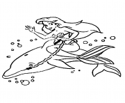 Print ariel and a dolphin disney princess s e14493882866483e4b coloring pages