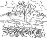 Print eric and ariel sailing with lobsters disney princess se2a2 coloring pages