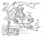 Print bad shark chasing ariel disney princess s72b4 coloring pages