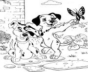 Printable dalmatians chasing a butterfly 3b57 coloring pages