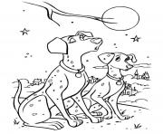Print two dalmatians under the moon 13da coloring pages