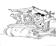 the flintstones in a car 3d95 coloring pages