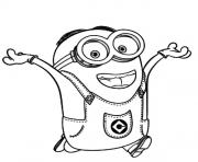 Print Dave The Minion is Happy coloring pages