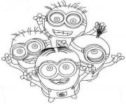 Four Happy Minion Coloring Page coloring pages
