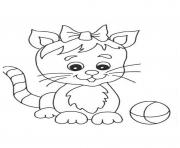 Printable cute cat with small ribbon 8c46 coloring pages