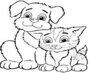 Printable cute cat and puppy df2f coloring pages