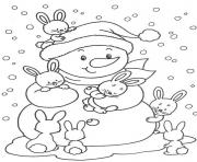 cute bunnies and snowman free winter s57ab coloring pages