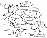 Printable cute girl winter s63de coloring pages