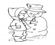 coloring pages winter cute kid putting a pipe on snowmanaca6