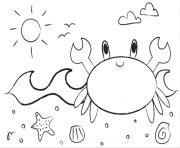 Printable cute crab sac17 coloring pages