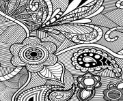 Printable flowers paisley design coloring pages
