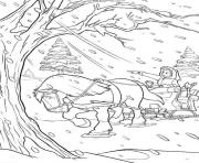 belle in snowy day disney princess caae coloring pages