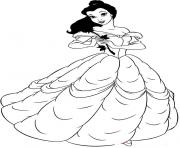 belle in beautiful dress disney princess ff42 coloring pages