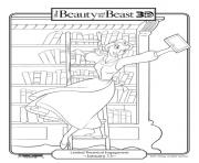 Printable belle in library disney princess cca6 coloring pages