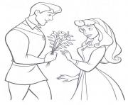 Printable the prince giving aurora flowers coloring pageb21c coloring pages