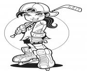 Printable player girl hockey sef0b coloring pages