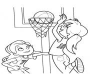 Print girls playing basketball s3d3d coloring pages