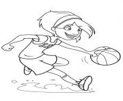 Printable girl playing basketball s55a1 coloring pages