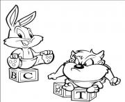 Print bugs bunny and taz baby looney tunes s freee951 coloring pages