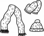 Print winter clothes s beanie mitten and scarfa1f4 coloring pages