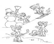 Print playing snow in the winter s4e97 coloring pages