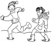 Print running in the snow winter sa059 coloring pages