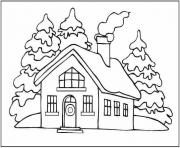 Print winter  house and snow4a51 coloring pages