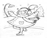 Print winter s girl skating84f2 coloring pages