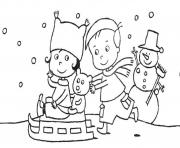 Print winter s printable playing sledcede coloring pages