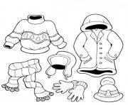 Print winter clothes s for childrenf785 coloring pages