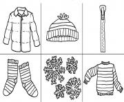 Printable printables winter clothes s723a coloring pages