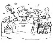 Print playing with snow in winter s printables0269 coloring pages