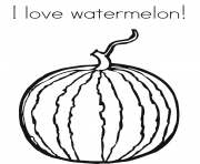 Printable i love watermelon fruit s836f coloring pages