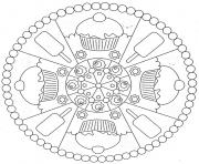 Printable cookies and ice cream mandala s31a7 coloring pages
