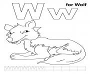 Printable wolf free alphabet coloring pages