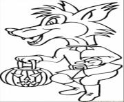 Printable costume halloween wolf coloring pages