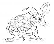 Bunny with eggs free printable coloring pages